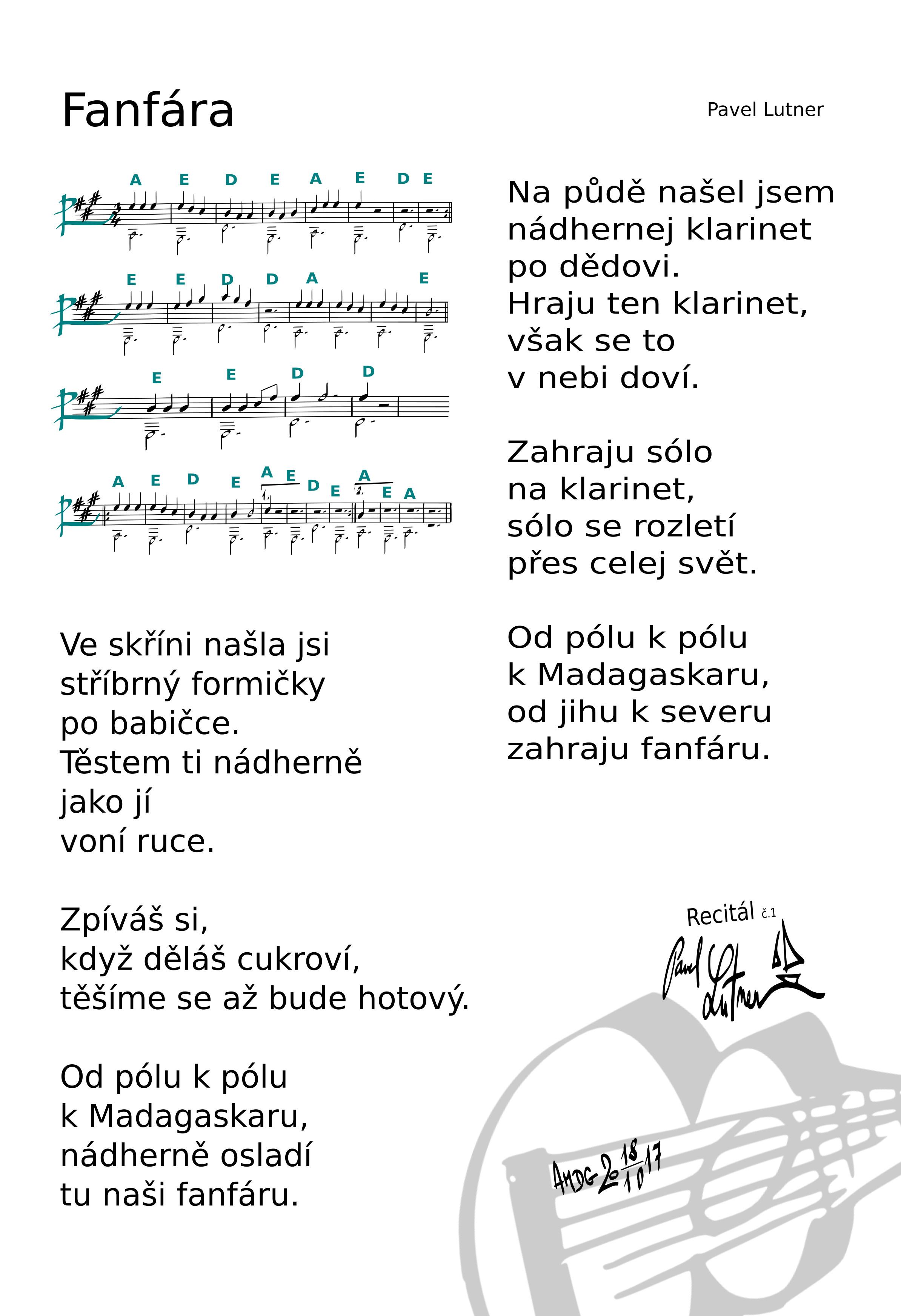 Fanfára - noty a akordy - III díky - koncept nové písničkařiny - chvála Kristu